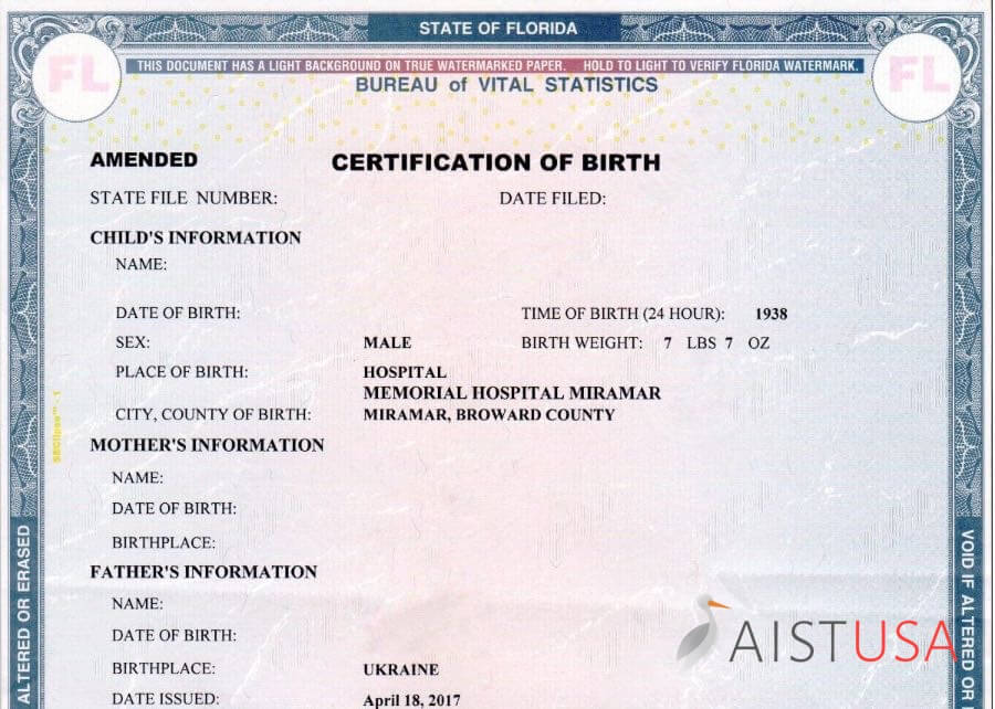 Certification of Birth